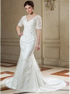 Wedding Dresses - $217.99 - Trumpet/Mermaid V-neck Chapel Train Satin Tulle Wedding Dress With Lace Beading  http://www.dressfirst.com/Trumpet-Mermaid-V-Neck-Chapel-Train-Satin-Tulle-Wedding-Dress-With-Lace-Beading-002011999-g11999