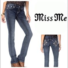 """Miss Me Signature Straight Jeans Medium wash boot cut jean with fading and whiskering. Back pockets feature a colored bloom with crystals and silver stitching. Large crystal rivets and silver logo hardware.  Signature Straight Inseam approx: 33-1/2″,  Waist 13-1/4"""",  Rise 7-1/2"""".  93% COTTON  6% Polyester 1% ELASTANE MACHINE WASH Miss Me Jeans Straight Leg"""