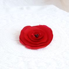 Ruby Red Satin Hair Flower