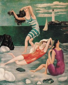 Bathers - Pablo Picasso  I can't say I really understand how to appreciate Picaso in the right way...  But there is something intriguing about this picture.  It looks like a staged scene and has interesting depth and proportion.