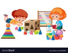 Kids playing with math toy vector image on VectorStock Shapes For Kids, Math For Kids, Kids Cartoon Characters, Cartoon Kids, Eid Crafts, Cute Cartoon Girl, Art Drawings For Kids, Kids Poster, Montessori Activities
