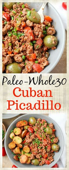 This Paleo Cuban Picadillo is a quick meal that is full of flavor! Ready in under 30 minutes and so filling. Made gluten free dairy free and low fodmap. Quick disclaimer: I am not claiming this to be authentic especially with my substitutions t Whole 30 Diet, Paleo Whole 30, Whole 30 Recipes, Menu Dieta Paleo, Paleo Recipes, Real Food Recipes, Cuban Recipes, Cuban Picadillo, Meals