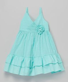 Look at this Teal Rosette Babydoll Dress - Toddler on #zulily today!