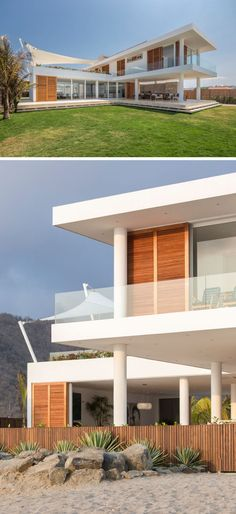 Gabriel Rivera Arquitectos have designed a modern beach house in Puerto Cayo, Ecuador, that has interiors that open up to enjoy the breeze of the water. Ecuador, Modern Tiny House, Modern Beach Houses, Contemporary Houses, Villas, Cottages For You, Beachfront House, Modern Buildings, Beach House Decor