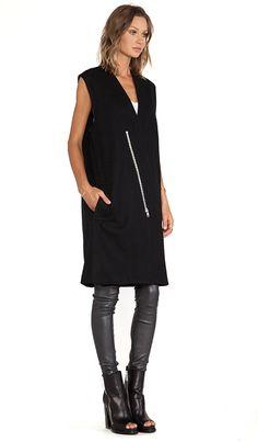 Lapel Zip Vest in Black