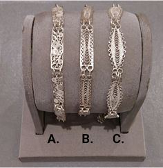 Silver Filigree Bracelets - 3 Designs
