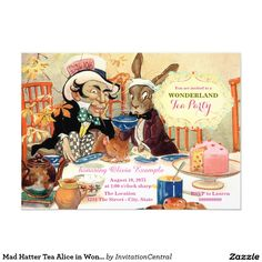 Mad Hatter Tea Alice in Wonderland Birthday Party 5x7 Paper Invitation Card
