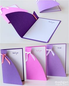handmade card using a dress silhouette – perfect for mom, bridesmaids or birthday girls.   eHow