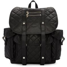 Balmain Black Quilted Backpack ($3,050) ❤ liked on Polyvore featuring men's fashion, men's bags, men's backpacks and balmain