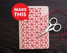 DIY Geometric Embroidered Notebooks