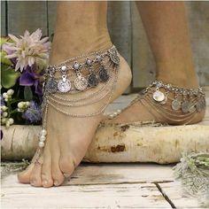 barefoot sandals -beach - festival - bohemian -  wedding foot jewelry-gypsy-boho