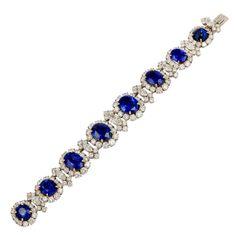 Bulgari Mid-Century Diamond Sapphire Platinum Bracelet, circa 1950s