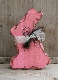 Easter Decor Pink Bunny Rabbit Shabby Chic Easter by therustygoose, $15.95