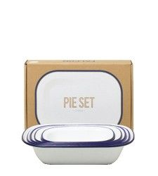 Enamel Pie Set - From a British company that has been making enamelware since the 1920s, this classic set contains 5 loaf or pot pie shaped baking dishes. White with blue, gray or red rim. Enamelware is made from porcelain fused onto heavy-gauge steel. It is perfect for baking in the oven and can also be used on the stovetop.  - Brook Farm General Store