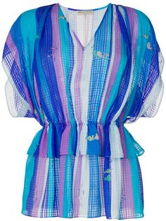 GABRIELLE'S AMAZING FANTASY CLOSET | Emilio Pucci's V-Neck Silk Blouse in Tonal Blue and Purple Silk Stripes.  It has Flutter Sleeves and an Elastic Waist over a Double Peplum.  Wear it with the Matching Maxi-Skirt in a Voluminous Paneled A-Line Silhouette. You can see the rest of the Outfit and my Remarks on this board. - Gabrielle