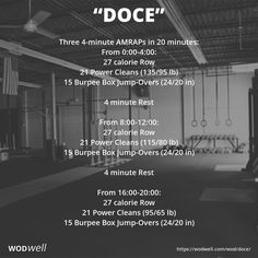 """Doce"" WOD - Three 4-minute AMRAPs in 20 minutes"