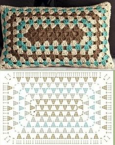 Crochet Granny Square Rectangle Yarns Ideas For 2019 Crochet Granny Square . Crochet Granny Square Rectangle Yarns Ideas For 2019 Crochet Granny Square Rectangle Yarns Crochet Cushion Cover, Crochet Pillow Pattern, Crochet Cushions, Granny Square Crochet Pattern, Crochet Blocks, Crochet Diagram, Crochet Stitches Patterns, Crochet Chart, Crochet Afghans
