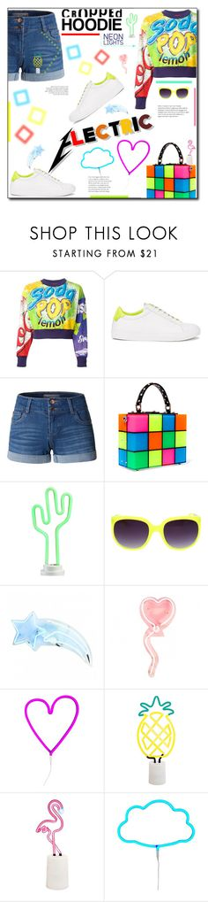 """""""Electric Neon Light"""" by selena-gomezlover ❤ liked on Polyvore featuring Moschino, Givenchy, LE3NO, Dolce&Gabbana, Celebrate Shop, A Little Lovely Company and Sunnylife"""