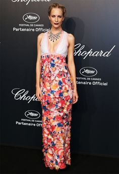 Poppy Delevingne in a Spring 2013 dress with plunging neckline and floral appliqués. Chopard dinner at the 2015 Cannes Film Festival.