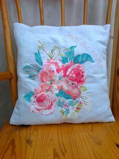 Cushion made using freehand machine embroidery http://www.facebook.com/monicamayhandmade