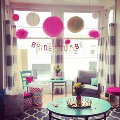 Bridal Shower + Bachelorette Party Decorations at home. Pink + Gold theme with Chinese Paper Lanterns.