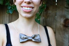 DIY (No-Sew) Leather Bow Necklace | Pretty Prudent