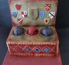 A quidditch box for a devoted Harry Potter fan. The balls and lid are made from styrofoam. The box is made from chocolate mud cake. Harry Potter Quidditch, Harry Potter Thema, Classe Harry Potter, Harry Potter Torte, Harry Potter Birthday Cake, Harry Potter Food, Harry Potter Wedding, Valentine Box, Box Cake