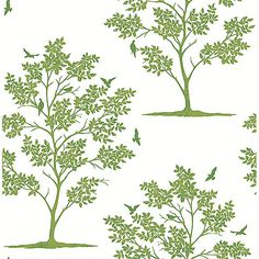 FD23282 - Trees and Birds Green Woodland - by Brewster Home Fashions