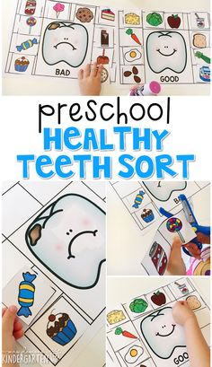 Read about dental health, then use pictures to sort foods that are good and bad for your teeth. Great for tot school, preschool, or even kindergarten! #nutritioncrafts