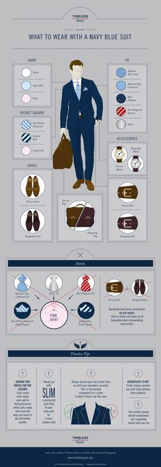 What to Wear With a Navy Blue Suit Infographic