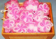 Floral- Bath Poufs-Pink n White Mesh Bath Sponge - Bath Accessory-30g-Favor Supplies - Custom Order-Bath Shower Favors- Bath Supply-Gift