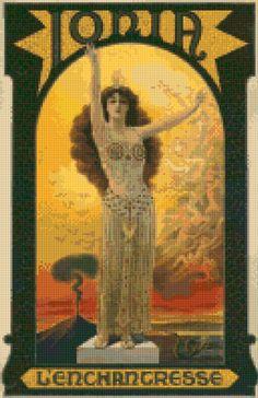 Art Nouveau Ionia Le Enchantresse poster Cross Stitch pattern PDF - Instant Download! by PenumbraCharts on Etsy