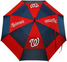 """MLB Washington Nationals Umbrella, Navy 62"""" double-canopy umbrella with multi-colored panels and full color durable imprint. Includes an easy grip molded handle. Withstands strong winds. http://www.umbrellaforsale.com/mlb-washington-nationals-umbrella-navy/"""