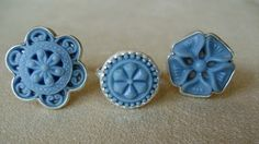 Button Rings - sterling silver, vintage buttons - Monika Krol Jewelry
