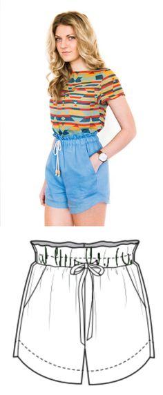 Kostenloses Schnittmuster für eine tolle Shorts für alle Gelegenheiten. Mit ausführlicher Nähanleitung. PDF-Schnittmuster zum Ausdrucken in Grössen US 8-16  Drawstring Linen Shorts, free sewing patterns for woman.