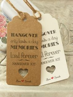 Personalised HANGOVER KIT Wedding ALCOHOL Favour Gift Tag Bottle Guest Label