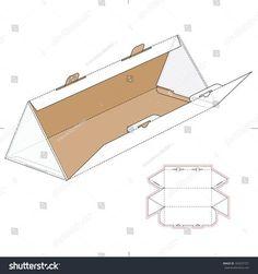 Packaging Ideas Discover Triangular Box Die Cut Template Layout Stock Vector (Royalty Free) 343237721 Triangular Box with Die Cut Template and Layout Packaging Dielines, Paper Packaging, Box Packaging, Packaging Design, Cardboard Design, Cardboard Crafts, Diy Gift Box, Diy Box, Karton Design