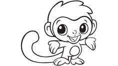 Baby monkey coloring printable