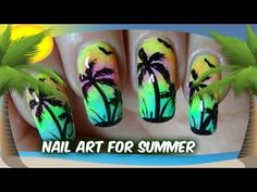 Neon Rainbow Ombre Nails for Summer - Palm Tree Nails - Nail Tutorial