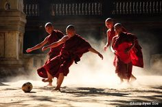 Photo: A.P. Soe. Young monks playing soccer. Join A.P. and Bennett Stevens on the photography tour of a lifetime. Begins Nov. 3, 2014.