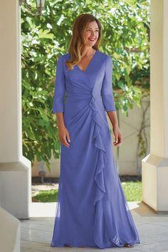 621ae4d1a6a J215005U Jade Tiffany Chiffon MOB Dress with V-Neckline