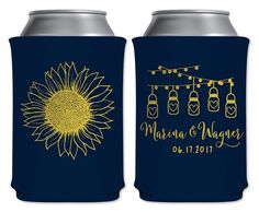 """Wedding Can Coolers Beverage Insulators Koozies Personalized Wedding Favors - Country Sunflower Love - Mason Jar Lights Style Coozies by """"ThatWedShop"""" on Etsy 
