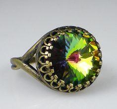 Vitrail Medium Rivoli Rhinestone Ring Vintage Inspired Oxidized Brass Swarovski Green Adjustable Ring $21