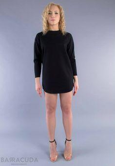 Na zdjęciu: - Czarna sukienka/tunika z przeszyciami #barracudawear http://www.barracudawear.pl/basic/sukienka-z-przeszyciami/