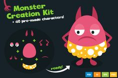 Monster Creation Kit with Large Pack by iamwowu on @creativemarket