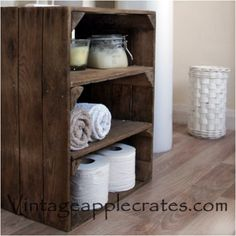 Vintage crate with shelves inside Vintage Apple Crate 2 Shelf Unit in Home, Furniture & DIY, Furniture, Bookcases, Shelving & Storage Wooden Bathroom Shelves, Bathroom Storage Units, Bathroom Caddy, Storage Shelves, Storage Spaces, Shelving, Storage Ideas, Storage Solutions, Beauty Photography