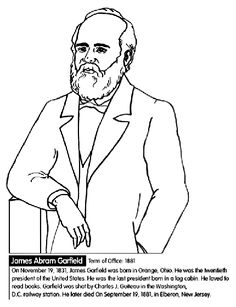 us president james garfield coloring page