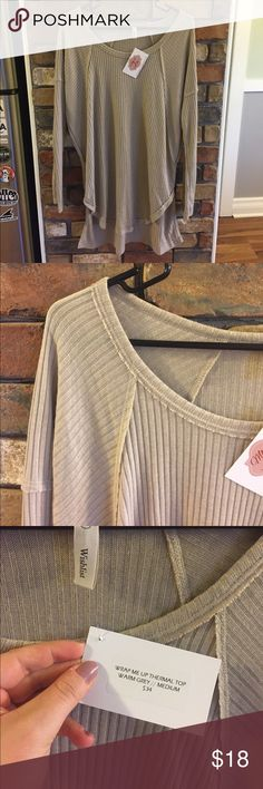 """Wishlist Long Sleeve Top """"Wrap me up thermal top"""" warm gray, size medium. I've always thought it looked more like a beige, but the color description is warm gray. The 2nd picture shows close to true color Wishlist Tops"""