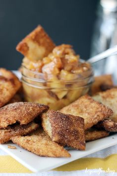 Apple Pie Dip with Cinnamon Pie Crust Chips