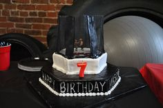 UFC birthday cake (should have been an octagon - hexagon worked because of cake pans)